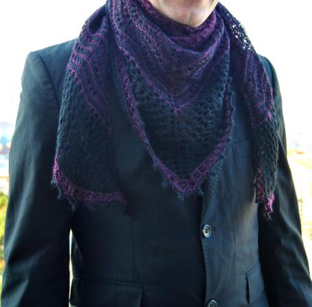 Hecate shawl knit lace for a man kristen kapur